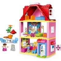Duplos big Building Block Friends Pink City Girl Princess Figure Family House Kids Educational Toys Gift compatible duplo 10505