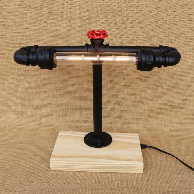 Modern Industrial Desk Lamp Wood Base Water Pipe Steam
