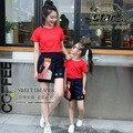 Novo estilo da família roupas combinando pôquer rainha applique mãe filha verão clothing t-shirt e saias terno 2 pcs set