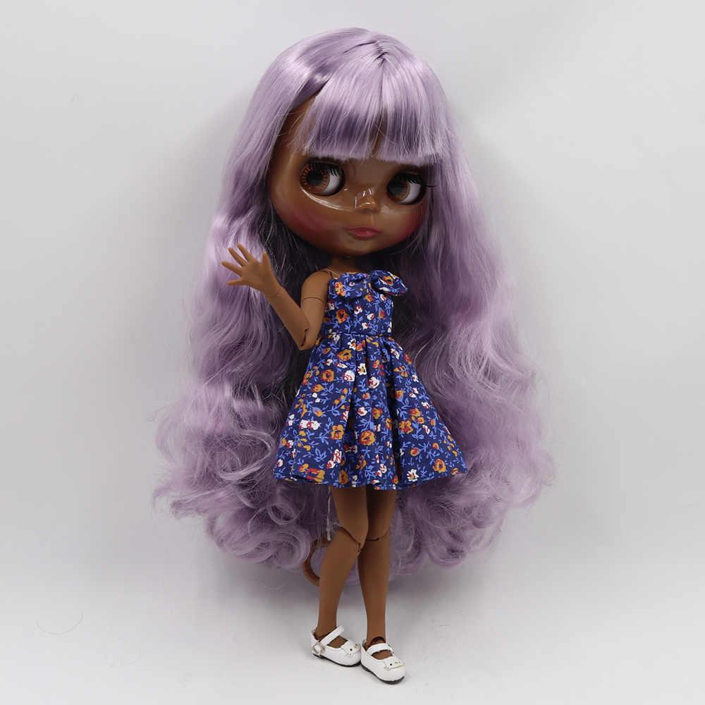Светлокожая кукла блайз шарнир элегантный фиолетовый вьющиеся волосы супер темная кожа 30 см подходит для DIY в продаже подарок SD игрушки с рукой AB