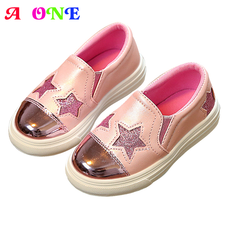 Spring bling glitter pentacle star patch silver shining PU boys girls skate shoes kid flats children shoes 16-21.8cm