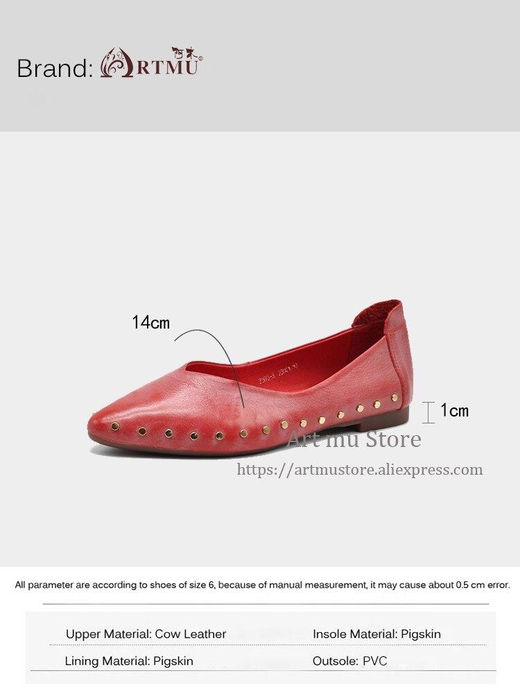 Suela Gray Pisos Único red 3 Zapatos Genuino Plano Remache Suave Pie Hechos A Primavera Mujer Del yellow Dedo Artmu 7393 Puntiagudo Original Cuero Nueva De Mano AwOnOT