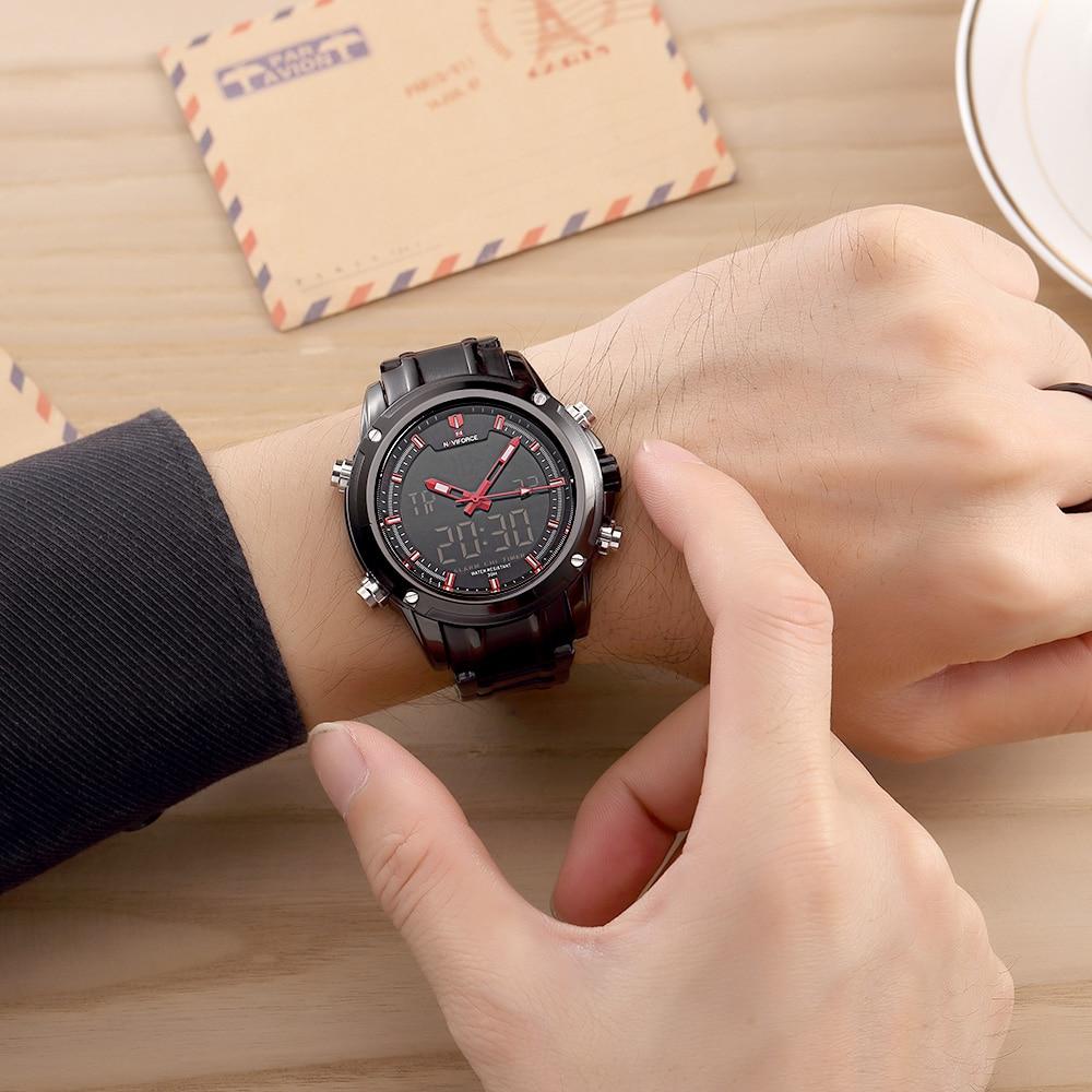 Top Luxury Brand NAVIFORCE Men Military Wodoodporny LED Zegarki - Męskie zegarki - Zdjęcie 6