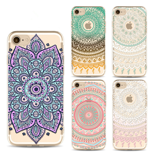 1304907a5d5 Fashion Case for iPhone 5 5s SE 6 6s 7 7Plus Colorful Mandala Henna Flower  Paisley Tribal Back Cover Soft TPU Funda Coque XY4023