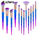 Aochern Unicorn Makeup Brushes 12pcs Thread Rainbow Professional Make Up Brush set Blending Powder foundation eyebrow eye Brush.