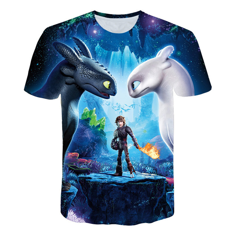 Hot Sales Children T-Shirt Cute Tops How To Train Your Dragon Cartoon 3D T-Shirt Summer Clothes Anime Men's T Shirt