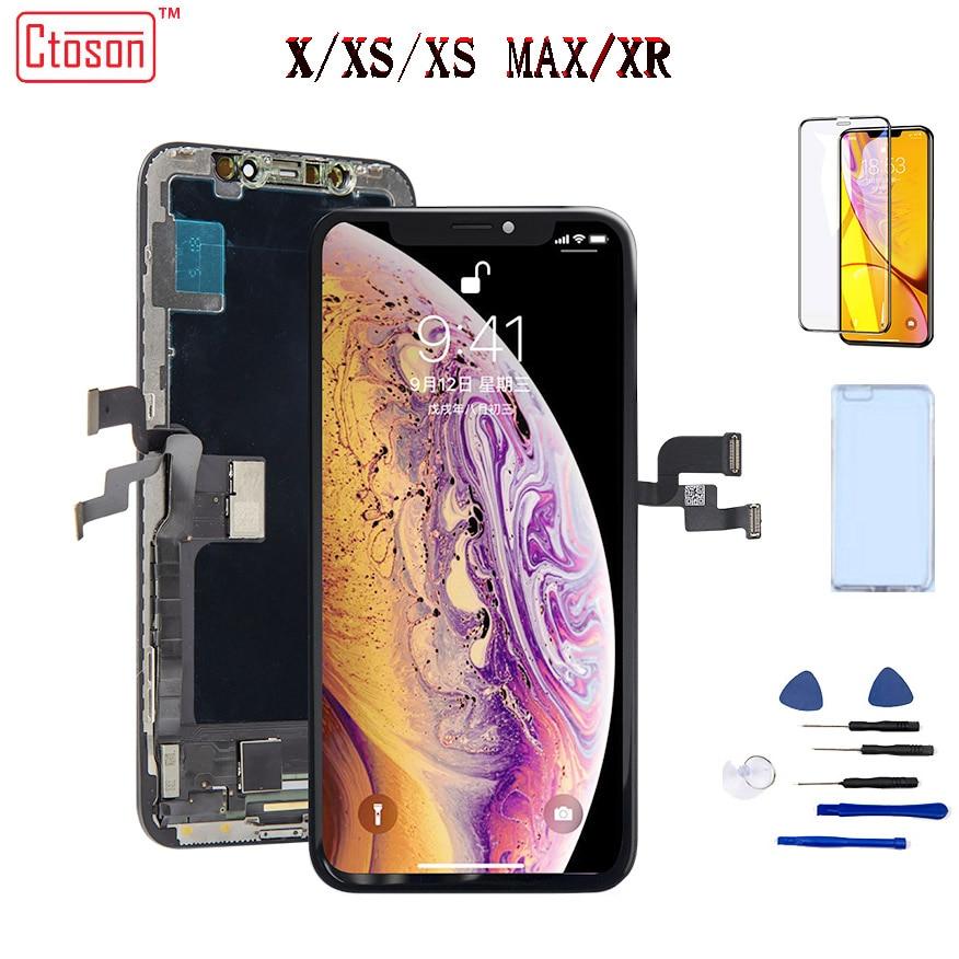 ЖК дисплей AMOLED для iPhone X XS Max XR, сенсорный экран с дигитайзером, запасные части в сборе