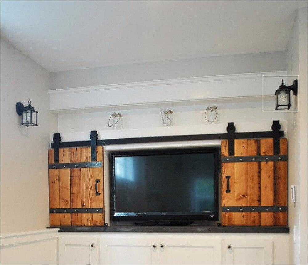 10.5 pies doble panel de madera estilo antiguo acero deslizante ...