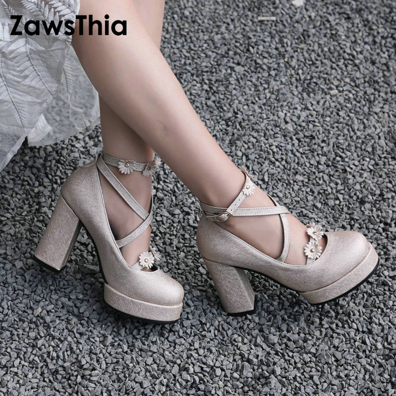 ZawsThia 2018 new round toe glitter flowers platform high heels woman pumps bridal shoes for women mary janes plus size 46 47 48 high quality 5pcs dual usb type a female 8 pin socket connector diy