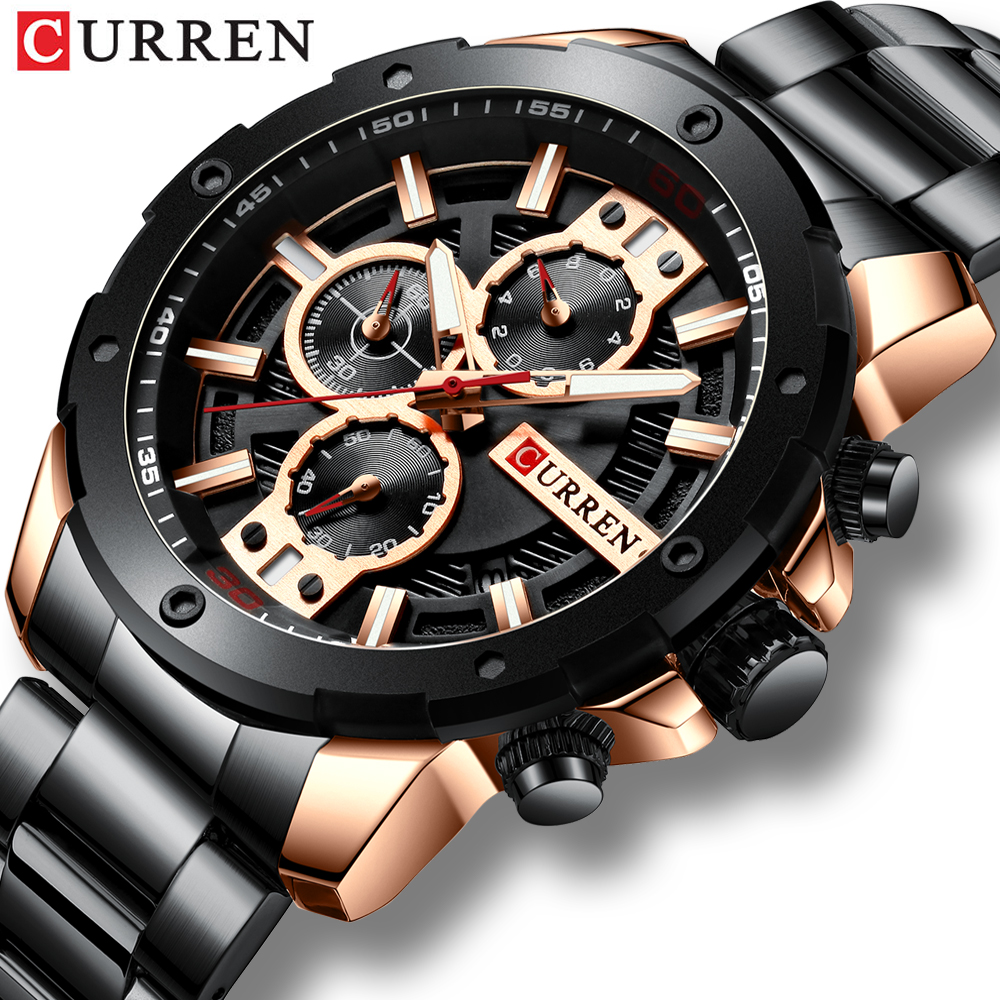 CURREN Sport Quartz Men's Watch New Luxury Fashion Stainless Steel Wristwatches Chronograph Watches For Male Clock Reloj Hombres