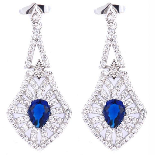 Coupe rectangulaire Blanc 18K Or Plaqué Zircone Cubique Zircone saphir bleu Boucles d/'oreilles pendantes
