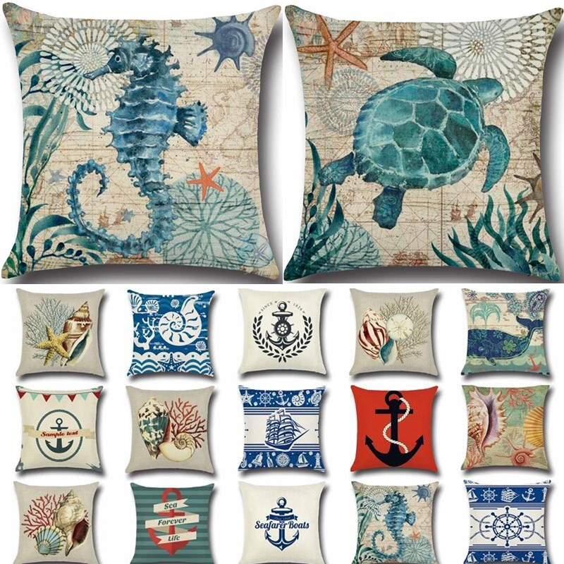 1Pcs Anchor Boat Sea Series Navigation Cotton Linen Throw Pillow Cushion Cover Home Decoration Sofa Bed Decor Pillowcase 40212