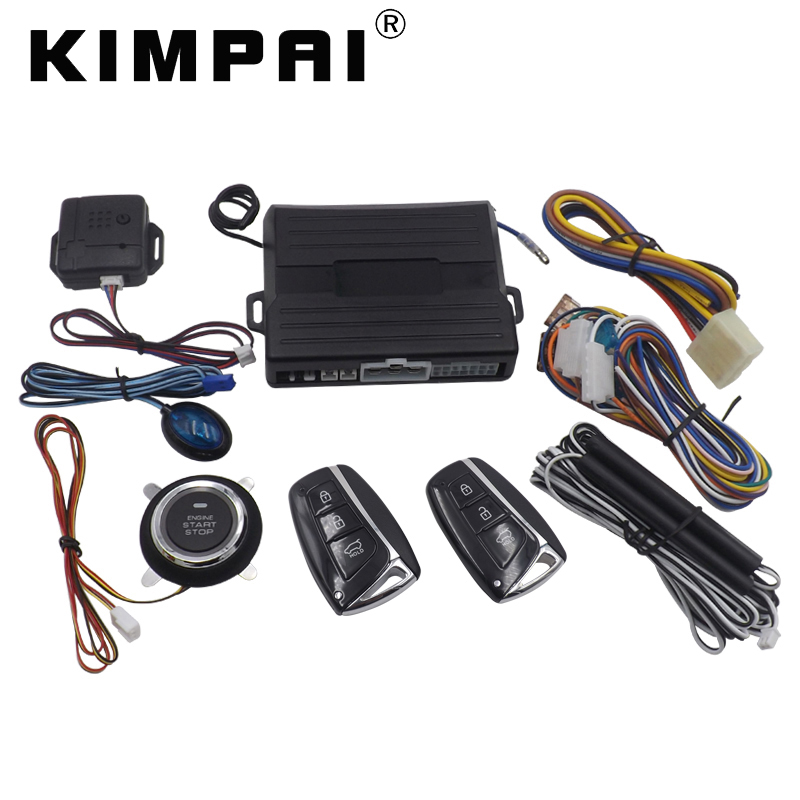 KIMPAI 9008 PKE Car Keyless Entry System For Hyundai Universal Central Door Locking Anti-theft System Remote Trunk Release top quality rolling code pke car alarm system with passive keyless entry power window output automatically lock unlock car