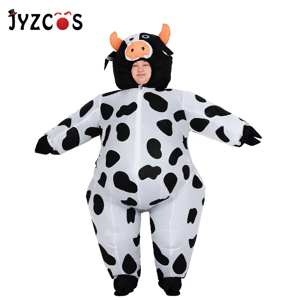 JYZCOS Cow Inflatable Costume Milk Cattle Clothing Halloween Costume for Men Adult Party Purim Cosplay Costumes