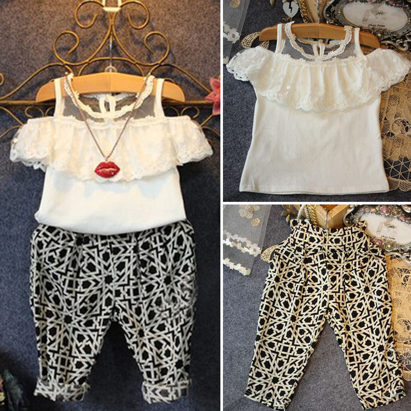 eaae3944e4b1 Fashion 2PCS Baby Girl Lace Floral Tops Check Pants Outfits Brief ...