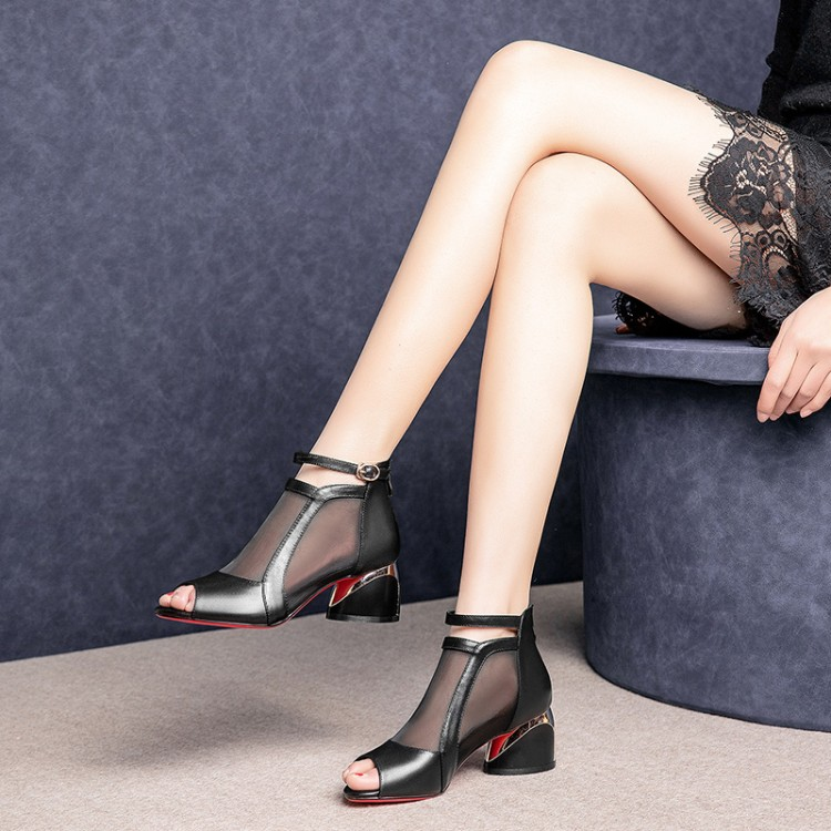 MLJUESE 2018 women sandals Cow leather Gladiator open toe black color beaches sandals nightclub party dress