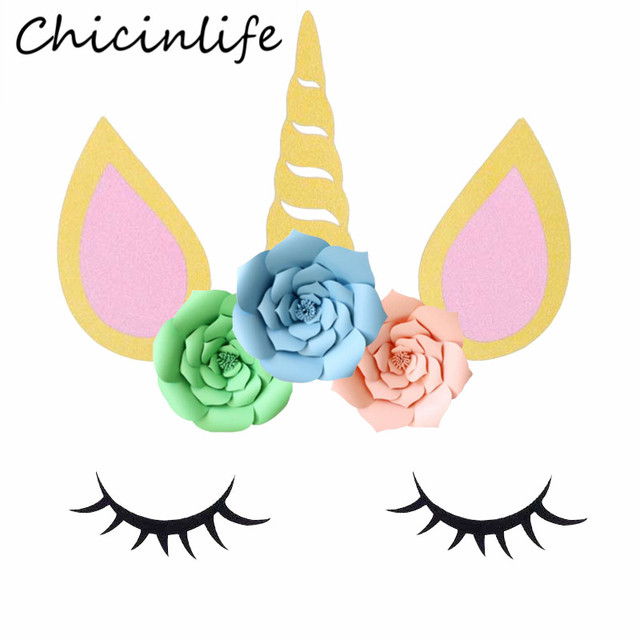 Chicinlife 1set Unicorn Horn Eyelash Stickers Backdrop Birthday