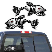 2PCS Skeleton Fish Bones R&L Vinyl Decals Stickers Kayak Fishing Boat Car (C022) Vehicle Accessories Parts(China)