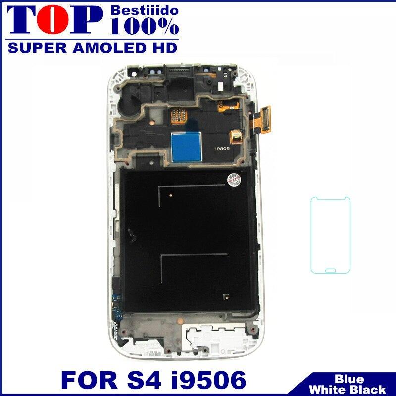 imágenes para Para Samsung i9506 Galaxy S4 Pantalla LCD Táctil Digitalizador + marco Del Bisel con El Vidrio Templado Super AMOLED HD LCDS