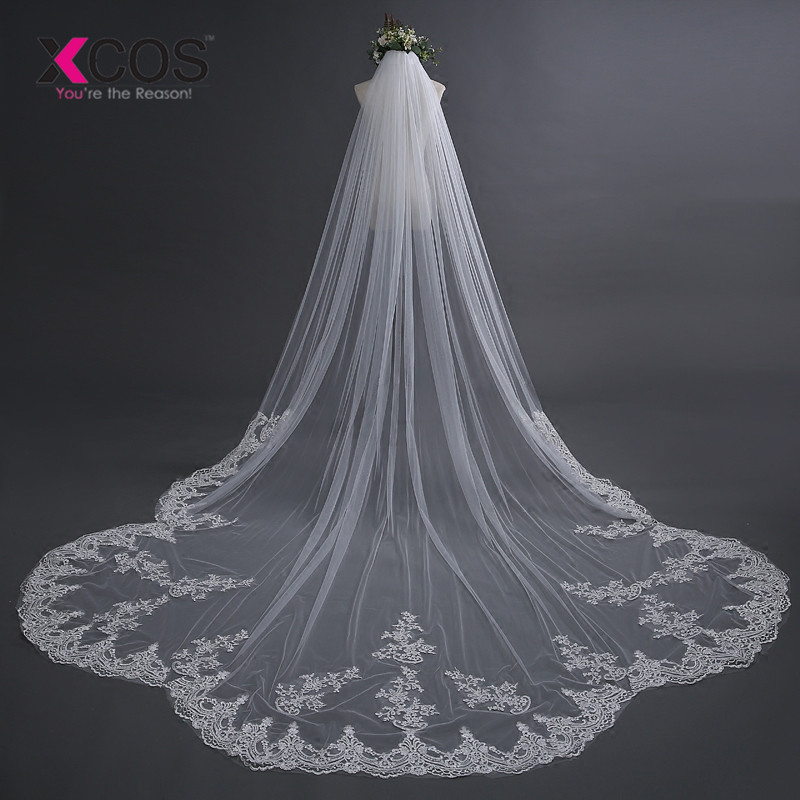 Wedding Accessories 2018 Appliques Tulle Long Cathedral Wedding Veil Lace Edge Bridal Veil with Comb veu de noiva longo