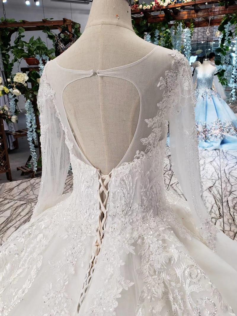 LS53710-1 luxury wedding dresses long sleeve o neck open back ball gown bridal dress up gowns 2019 promotion vestido de noiva (7)