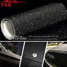 Siyah don Glitter elmas vinil film mat Glitter araba sticker ile kabarcık ücretsiz ücretsiz nakliye için boyutu: 10/20/30/40/50/60x152 cm/Lot