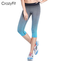 CrazyFit women professional sports yoga pants protection tight pants running fitness women gym compression cropped Trousers