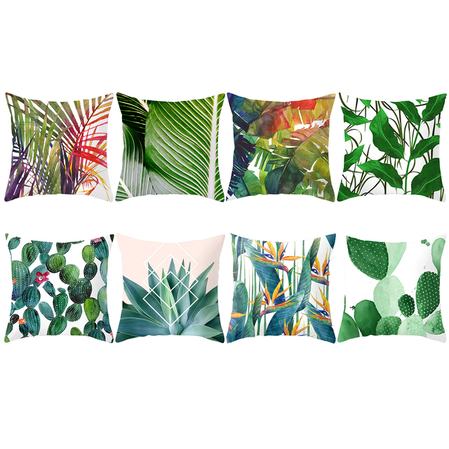 Cactus and Tropical Plants Decorative Pillowcase