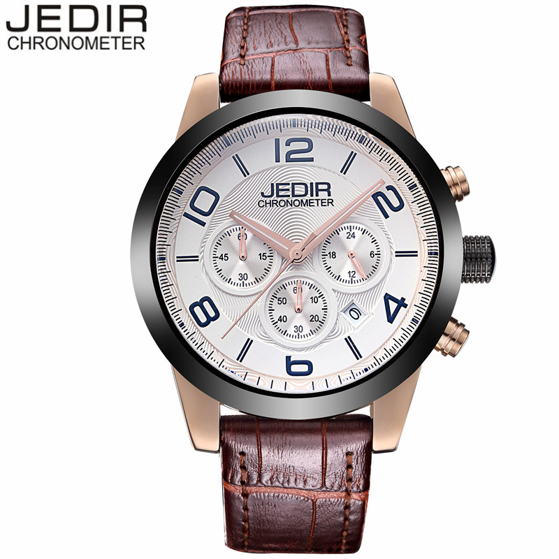 JEDIR Mens Watches Chronograph Clock Male Sport Waterproof Wristwatch Leather Quartz Watch relogio masculino Christmas gift N56 jedir chronograph sport mens watches top brand luxury famous male clock quartz watch military leather relogio masculino gift box