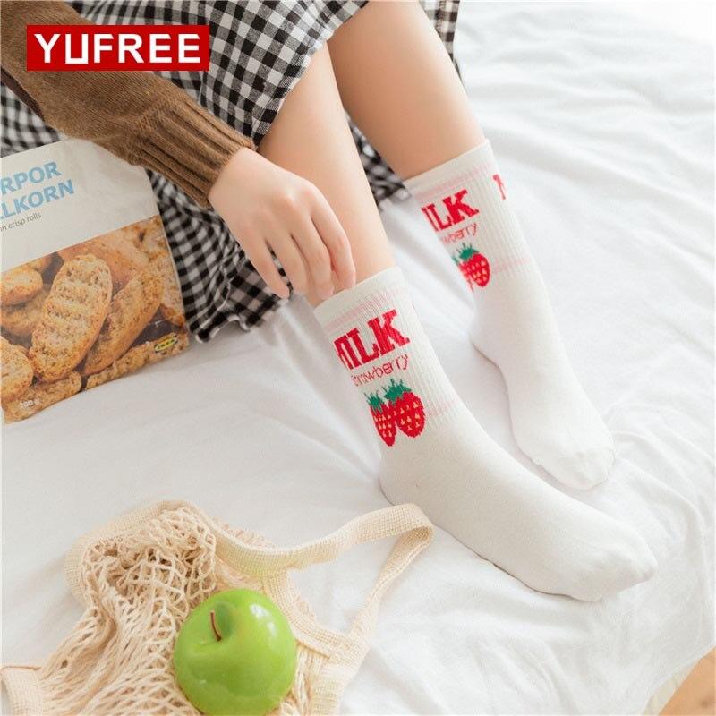 YUFREE 35-39 Female Ulzzang Cotton Sockss