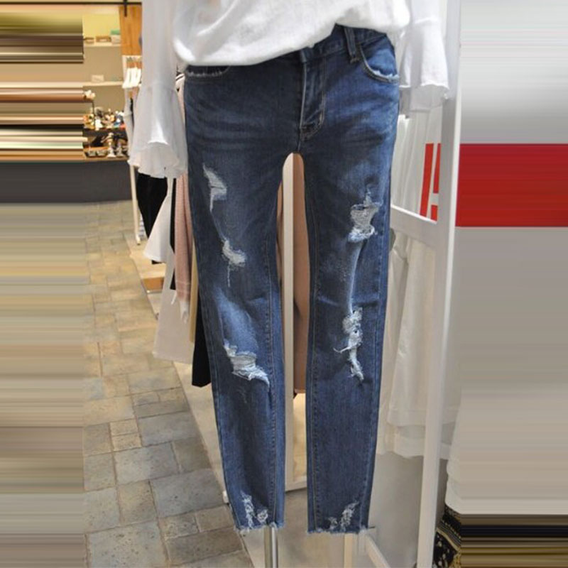 2017 Autumn New Korean Denim Pants for Women Fashion Ripped Hole Cowboy Trousers Female Casual Elastic Ladies Jeans Pencil Pants plus size pants the spring new jeans pants suspenders ladies denim trousers elastic braces bib overalls for women dungarees
