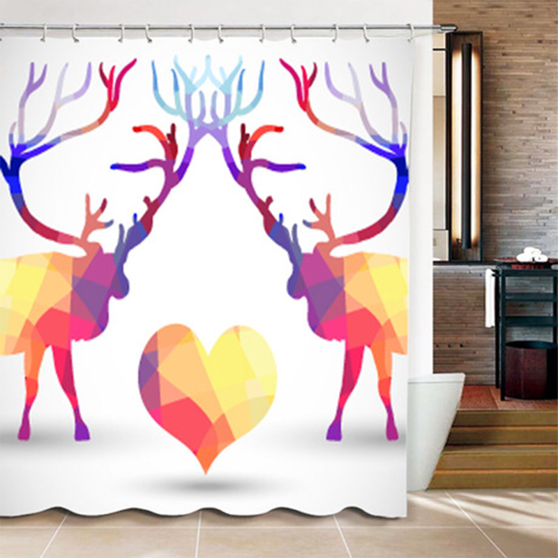 Simple Style Color Animal Pattern Shower Curtain With Hooks High Quality Waterproof Printed Shower Curtains Bath YL-03