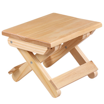 Pine wood folding stool portable household solid wood taburet outdoor fishing chair small bench square stool kids furniture