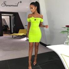1ba9410f198 Simenual Off Schulter Sexy Rüschen Mini Kleid Frauen Bodycon Kurzarm Kleider  Clubwear Neon Farbe Dünne Kleid