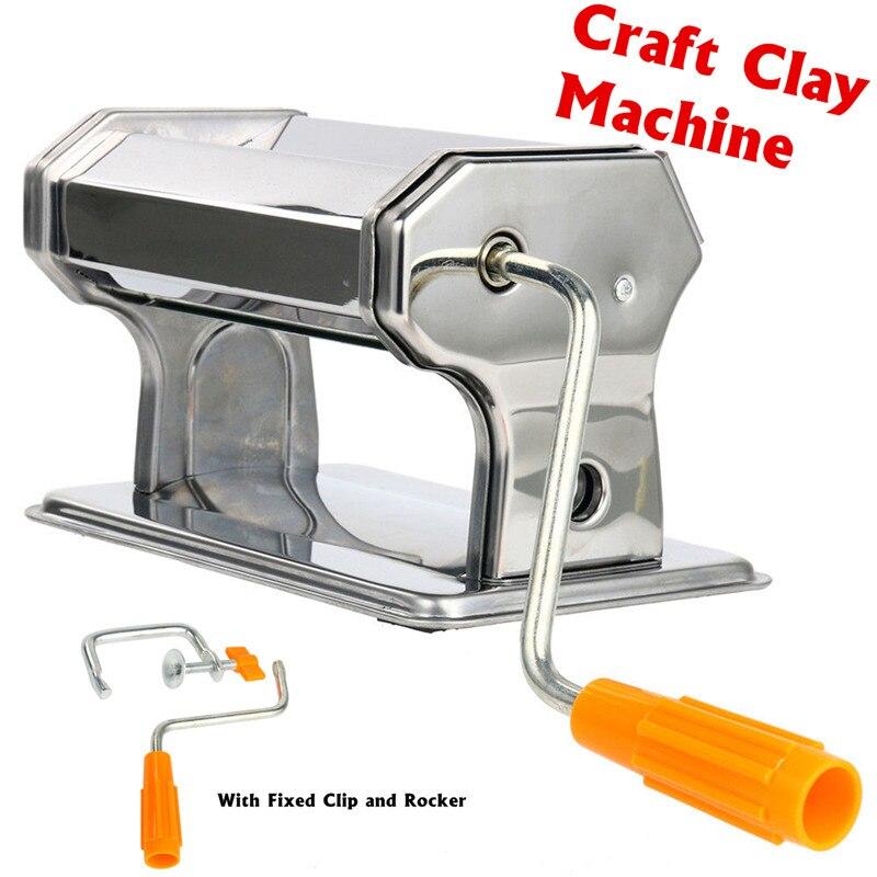 Manual de aço inoxidável portátil do rolo da imprensa da máquina de rolamento da argila do polímero do ofício dobrado ferramentas feitas à mão da massa da imprensa não-elétrica
