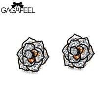 GAGAFEEL Rose Fower Stud Earrings Fashion Jewelry  For Women Luxury Brand Design Stud Earrings Copper Crystal Vintage Earrings