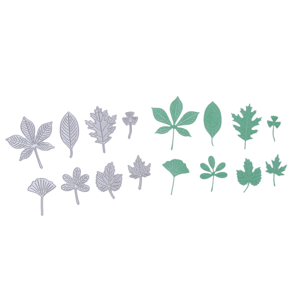 8PCS Leaves Metal Cut Dies för Scrapbooking Foto Album Dekorativa Embossing Craft Dies Papper Kort Die Cut Stencils