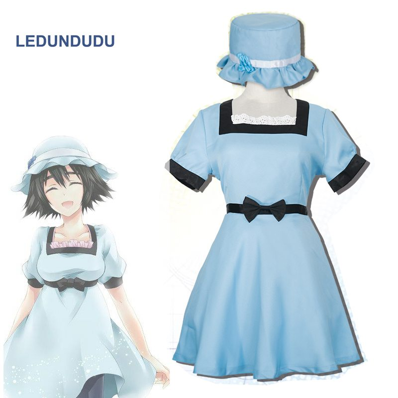 Mode Jeu Steins Gate Shiina Mayuri Cosplay Robe Femmes Fantaisie Party Outfit set + Chapeau pour Halloween Costumes