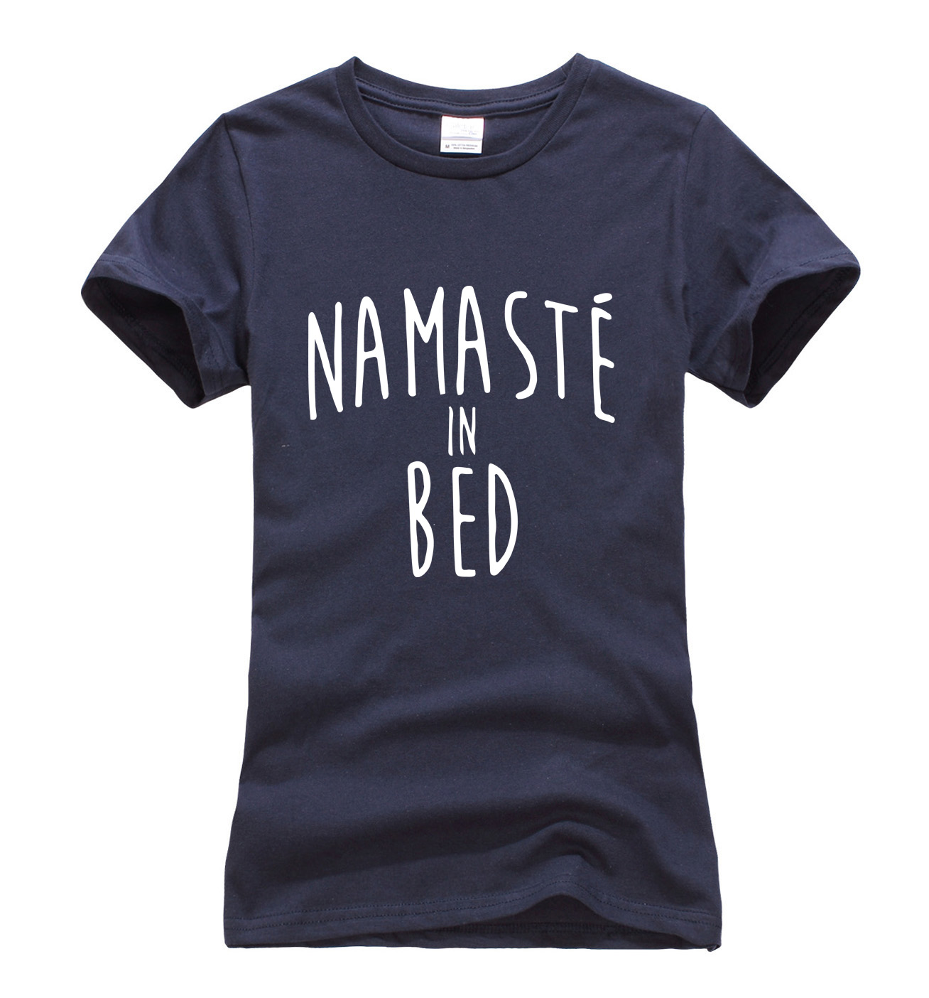 new arrival funny t shirt women 2019 Summer Namaste In Bed letters print harajuku tops brand short sleeve o-neck women t-shirt