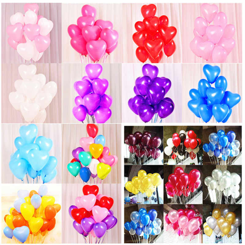 10pcs 12inch 2.2g Heart Balloons Latex Wedding Decor Birthday Party Decorations Kids Latex Balloon Air Balls Inflatable Boy Toys
