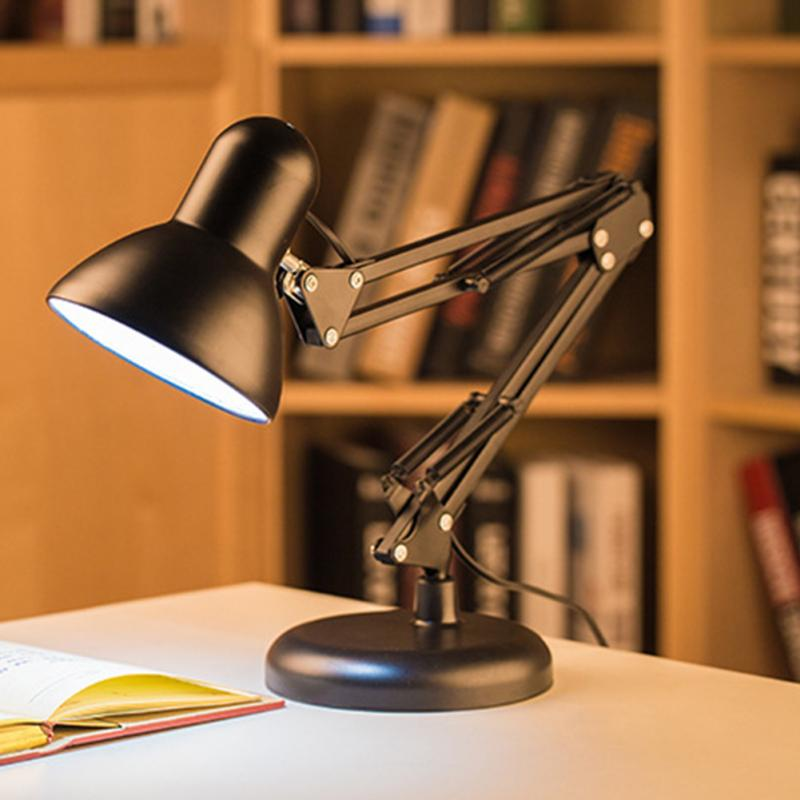 LED Long Swing Arm Socket Type Desk Lamp Metal Adjustable ...