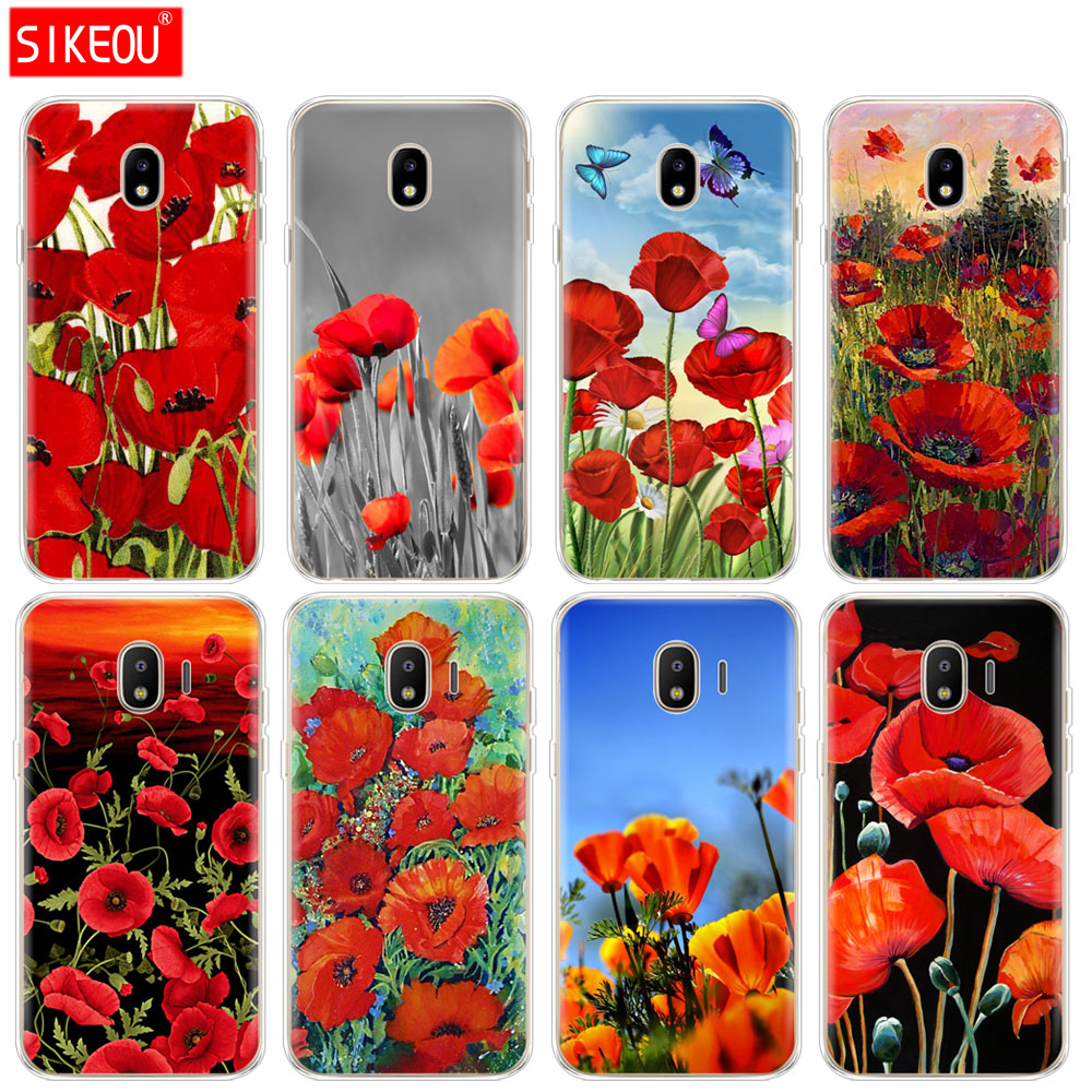 Hot sale silicone cover phone case for samsung galaxy j3 j5 j7 2017 silicone cover phone case for samsung galaxy j3 j5 j7 2017 j330 j530 j730 pro j2 2018 red poppies flowers mightylinksfo