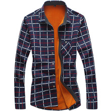 Men's Casual Plaid Warm Shirt Long Sleeve