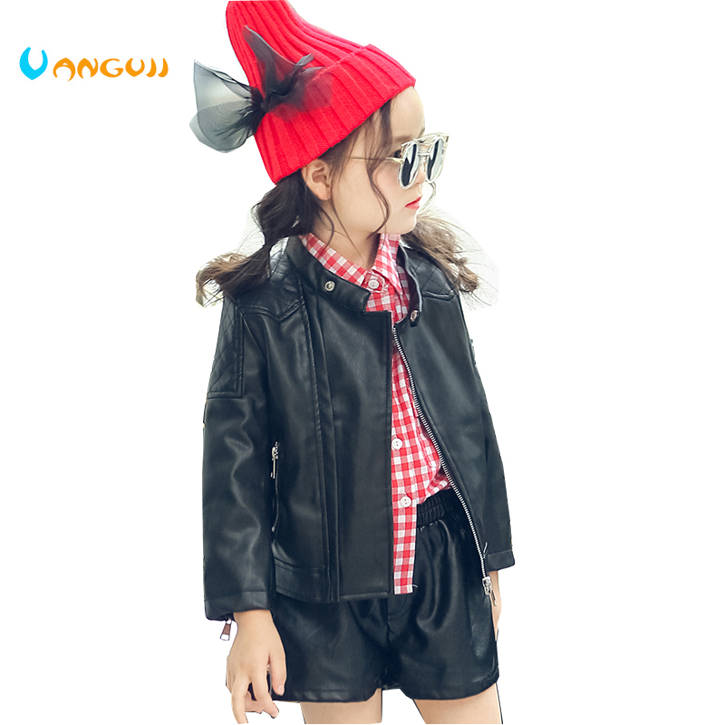 2017 autumn winter hot children PU jacket, 2-7 year old girl Fashion Shoulder Embroidered Leather Motorcycle Leather Jacket ...