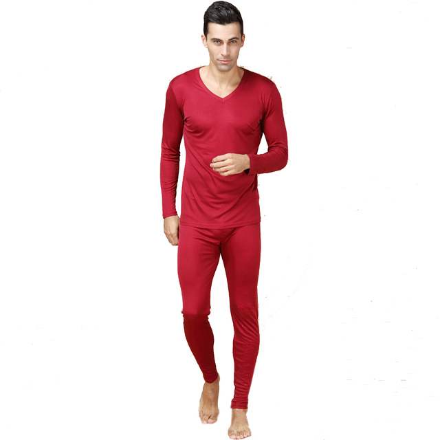 100% calzoncillos largos de los hombres de seda pura masculina v neck warm body suits hombres underwear sets antibacteriana térmica hombre otoño trajes