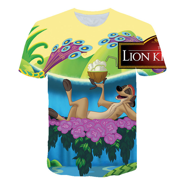 Rei Leão Harajuku 3d dos homens T-shirt do Verão Das Mulheres T-shirt Da Menina do Menino Impressão Tshirt Anime Camiseta Roupas de Marca Engraçado camiseta de banda desenhada