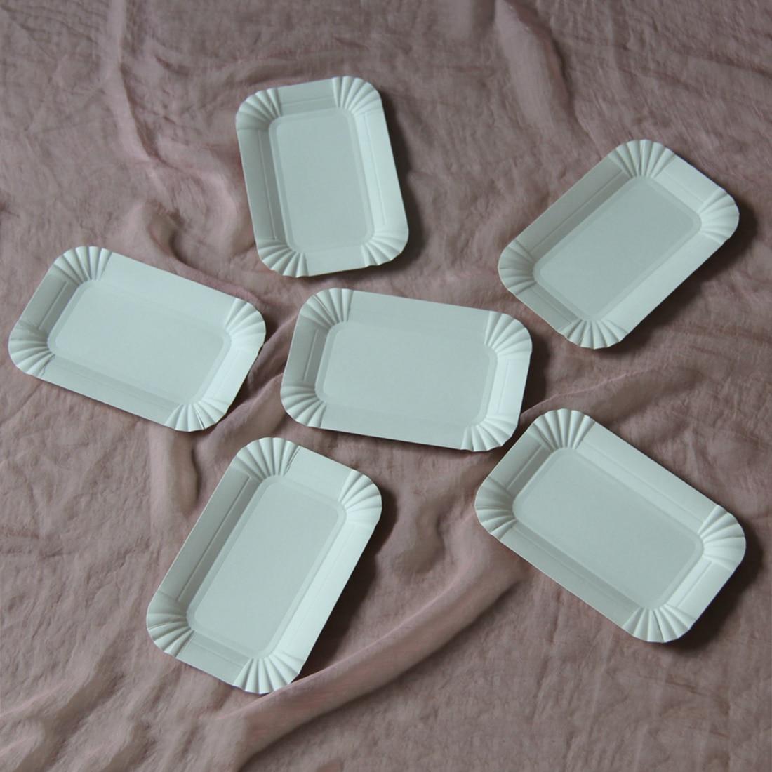 Hot selling 20Pcs Disposable paper plates Rectangular ...