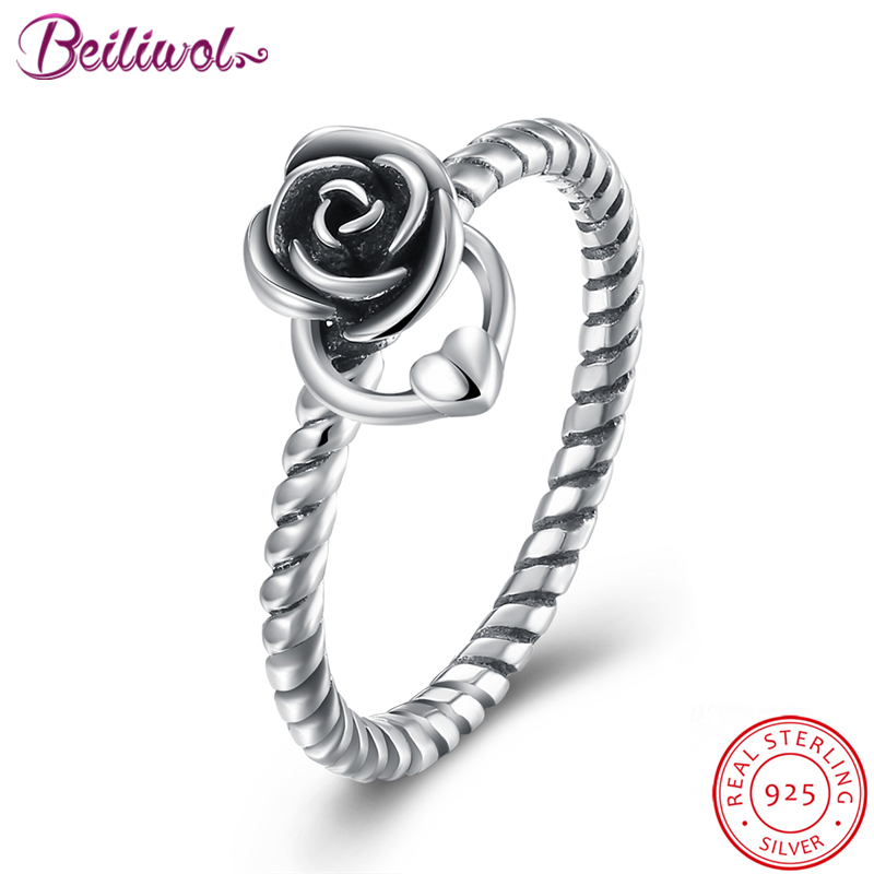 Fashion 925-sterling-silver Rings for Women Rose flower Retro Fine jewelry heart charms silver 925 original wedding gift No fade