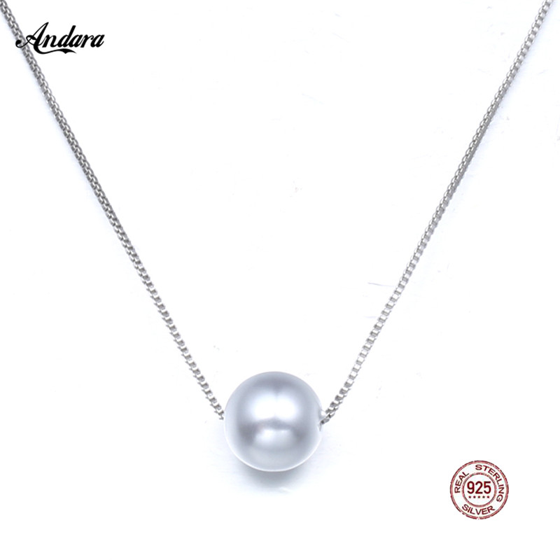 <font><b>ANDARA</b></font> 100% 925 Sterling Silver New Design Pearl Necklaces & Pendants For Women's Fine Jewelry Necklac image