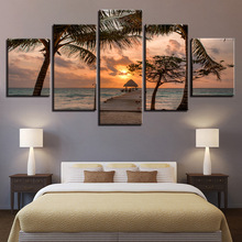 Canvas Art Print Modular Wooden Bridge Maleri Poster Wall 5 Panel Sunset Bilde For Home Decoration Sea Kids Room Framework